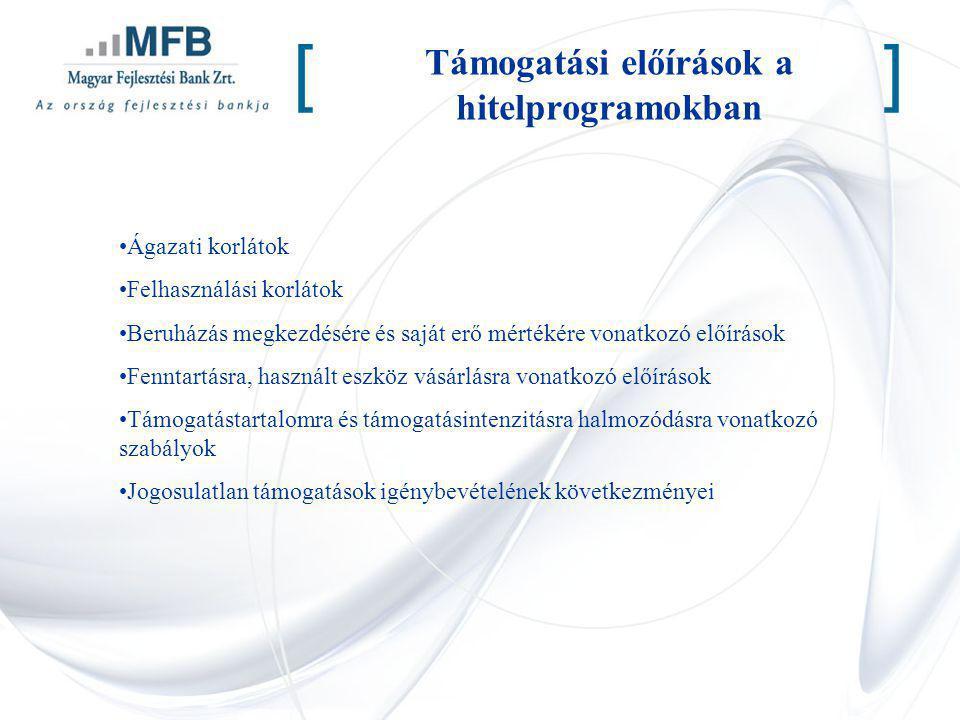 Támogatási előírások a hitelprogramokban