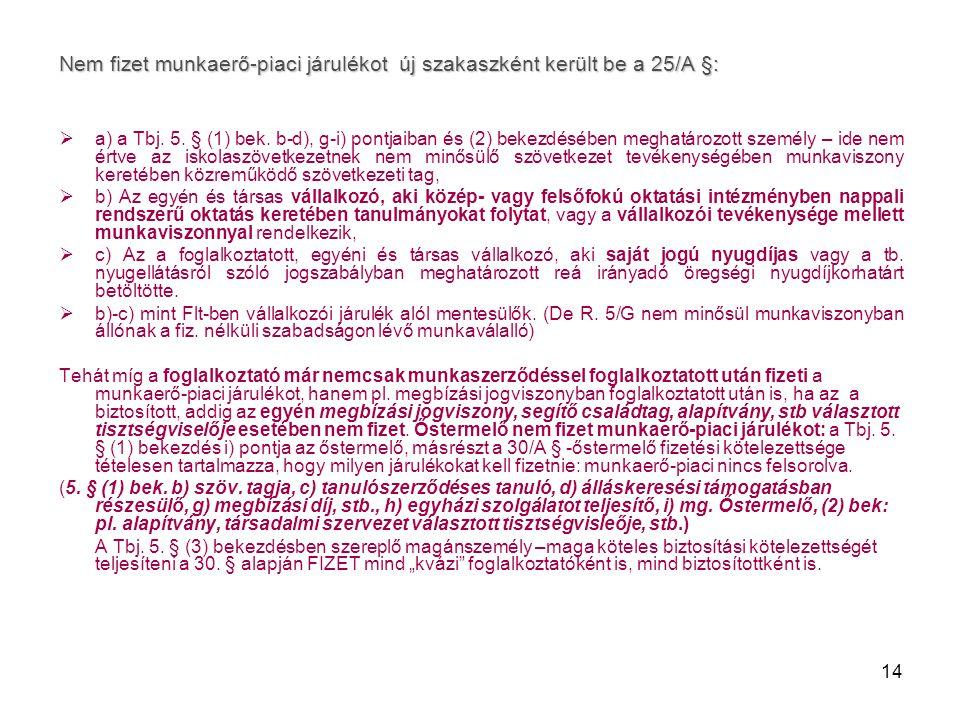 Nem fizet munkaerő-piaci járulékot új szakaszként került be a 25/A §: