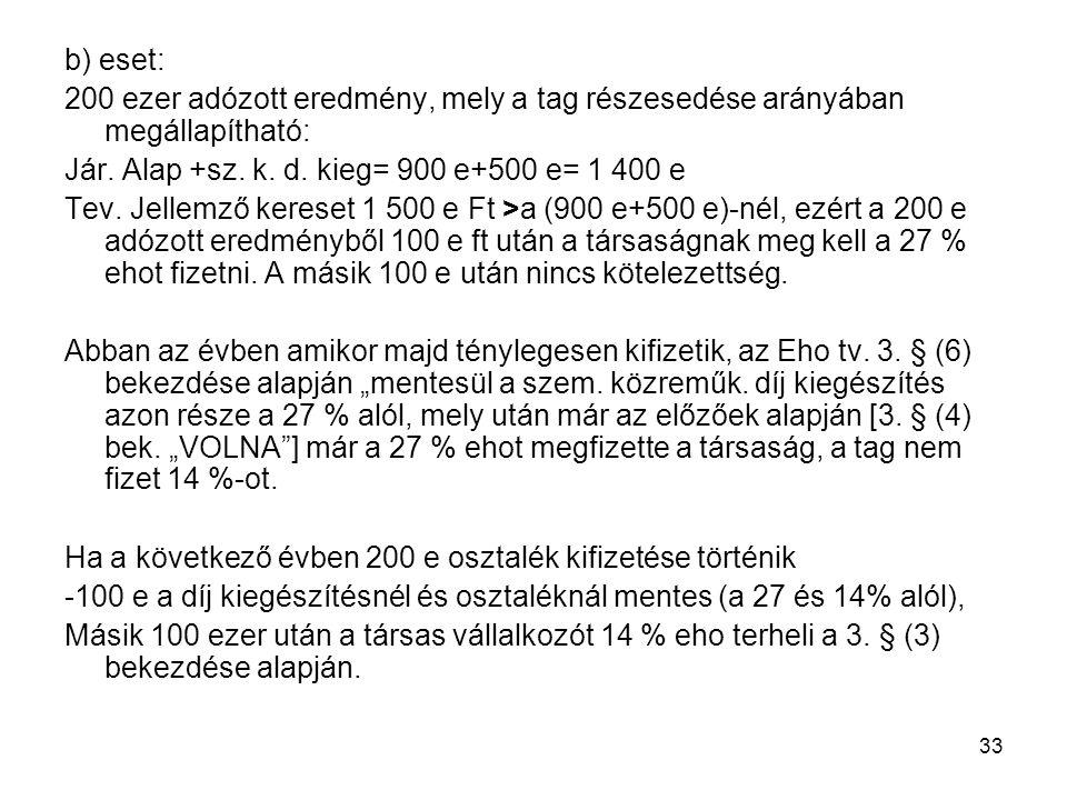 b) eset: 200 ezer adózott eredmény, mely a tag részesedése arányában megállapítható: Jár. Alap +sz. k. d. kieg= 900 e+500 e= 1 400 e.