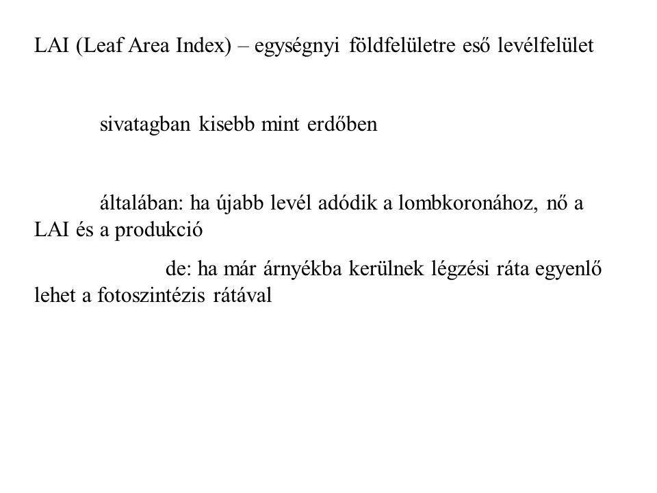LAI (Leaf Area Index) – egységnyi földfelületre eső levélfelület