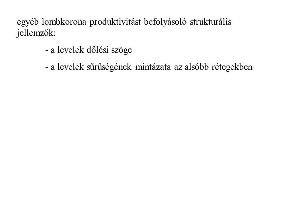 egyéb lombkorona produktivitást befolyásoló strukturális jellemzők: