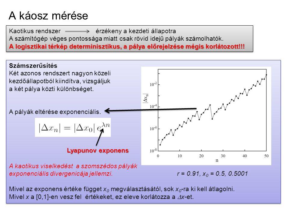 A káosz mérése Kaotikus rendszer érzékeny a kezdeti állapotra