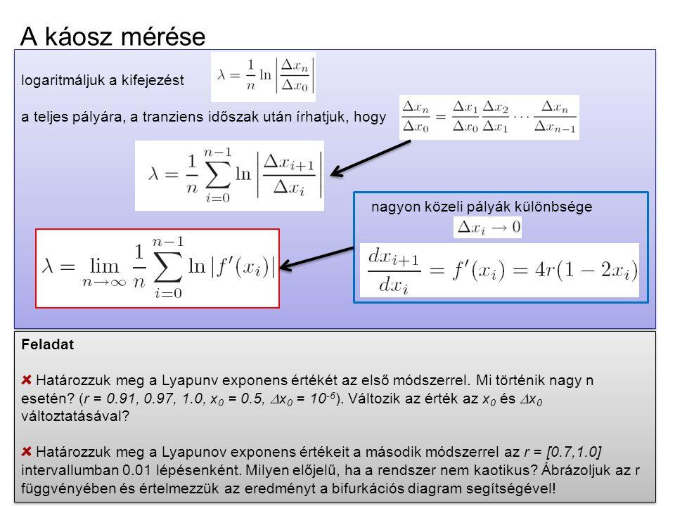 A káosz mérése logaritmáljuk a kifejezést