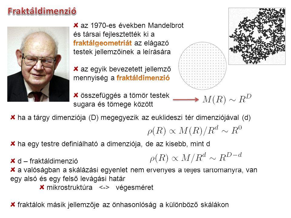 Fraktáldimenzió az 1970-es években Mandelbrot és társai fejlesztették ki a fraktálgeometriát az elágazó testek jellemzőinek a leírására.