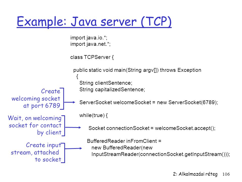 Example: Java server (TCP)
