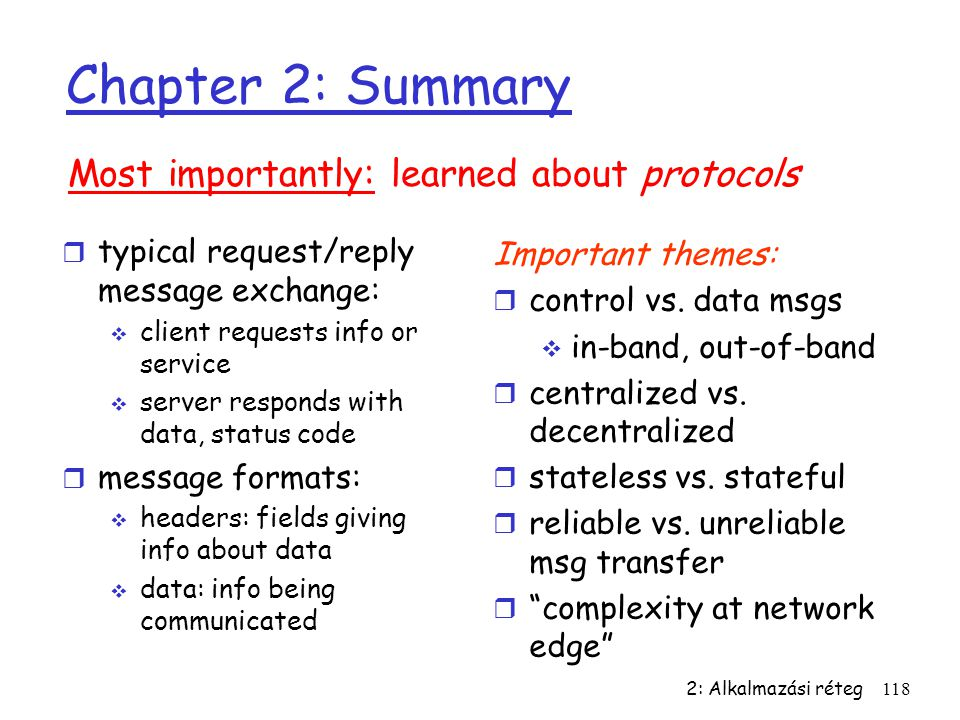 Chapter 2: Summary Most importantly: learned about protocols