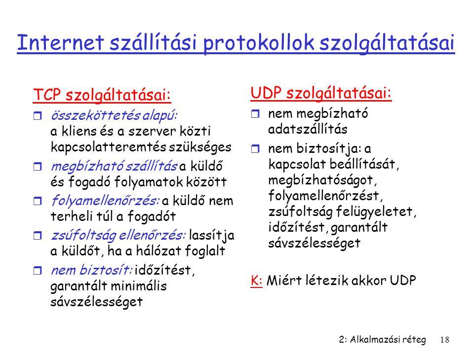 Internet szállítási protokollok szolgáltatásai