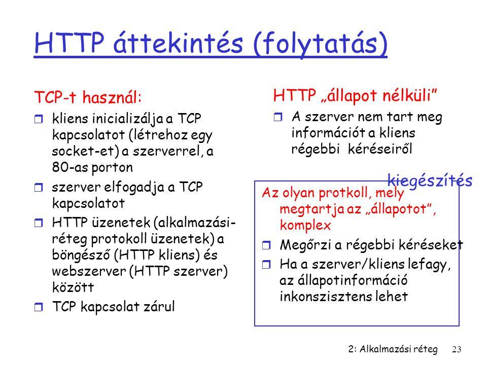 HTTP áttekintés (folytatás)