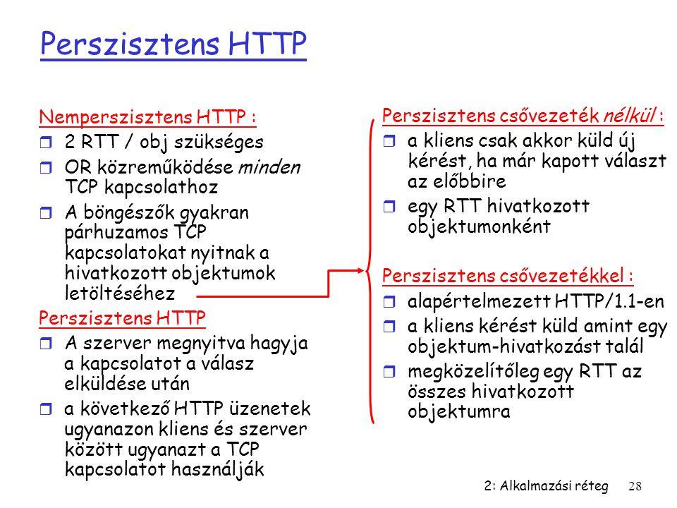 Perszisztens HTTP Nemperszisztens HTTP :