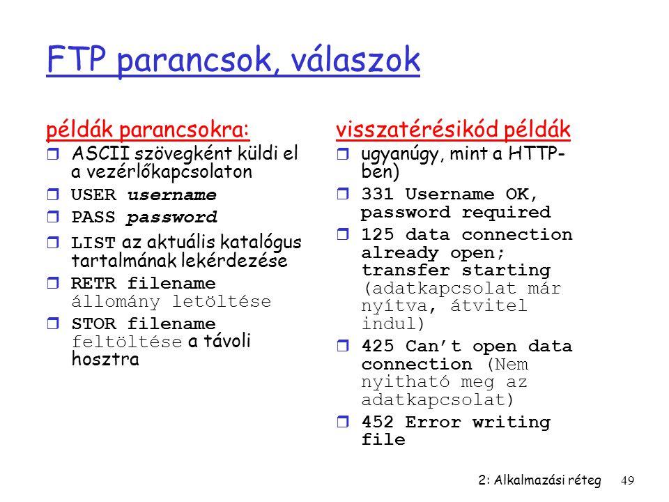 FTP parancsok, válaszok