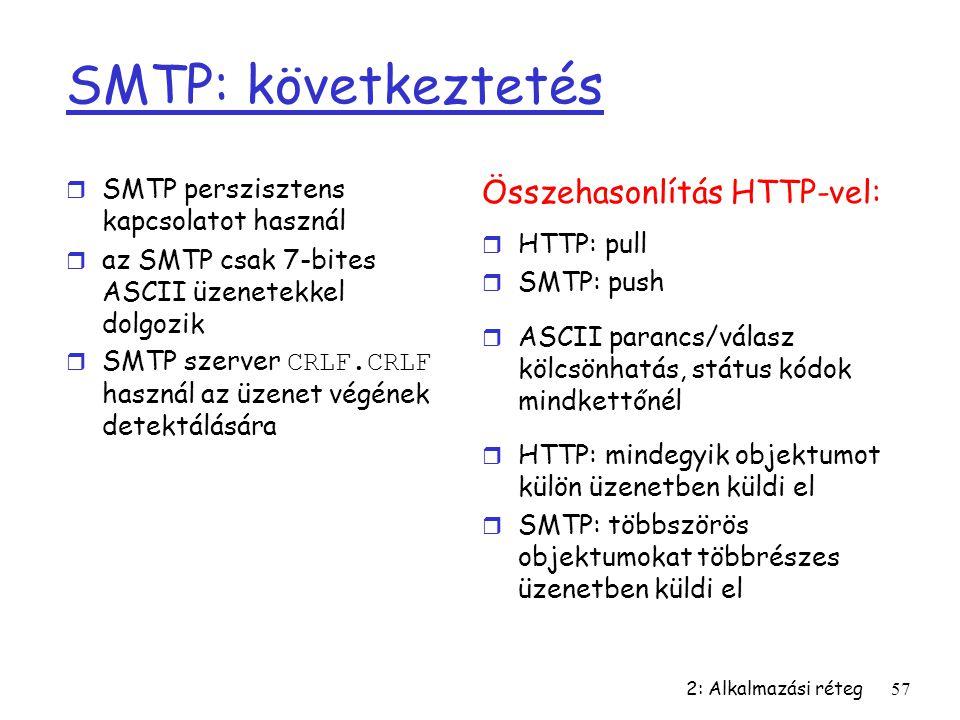 SMTP: következtetés Összehasonlítás HTTP-vel: