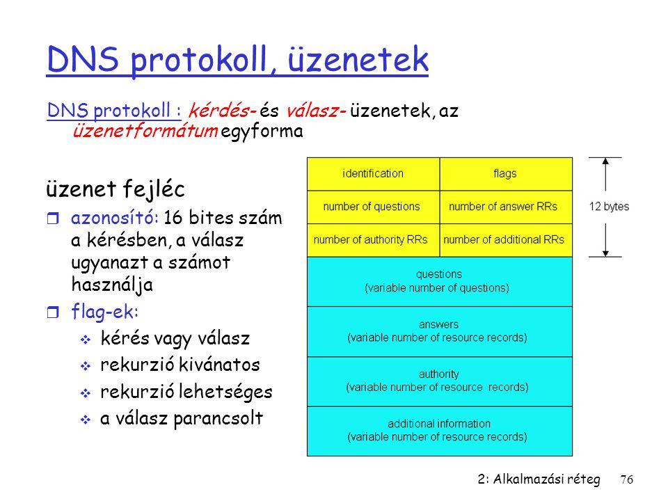 DNS protokoll, üzenetek