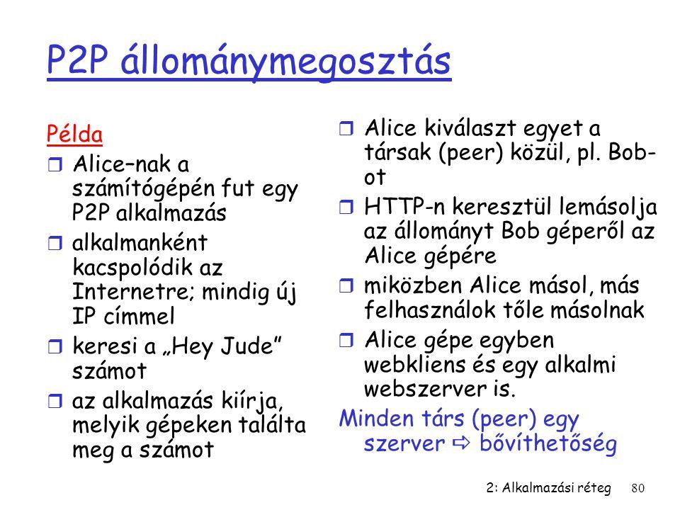 P2P állománymegosztás Alice kiválaszt egyet a társak (peer) közül, pl. Bob-ot. HTTP-n keresztül lemásolja az állományt Bob géperől az Alice gépére.