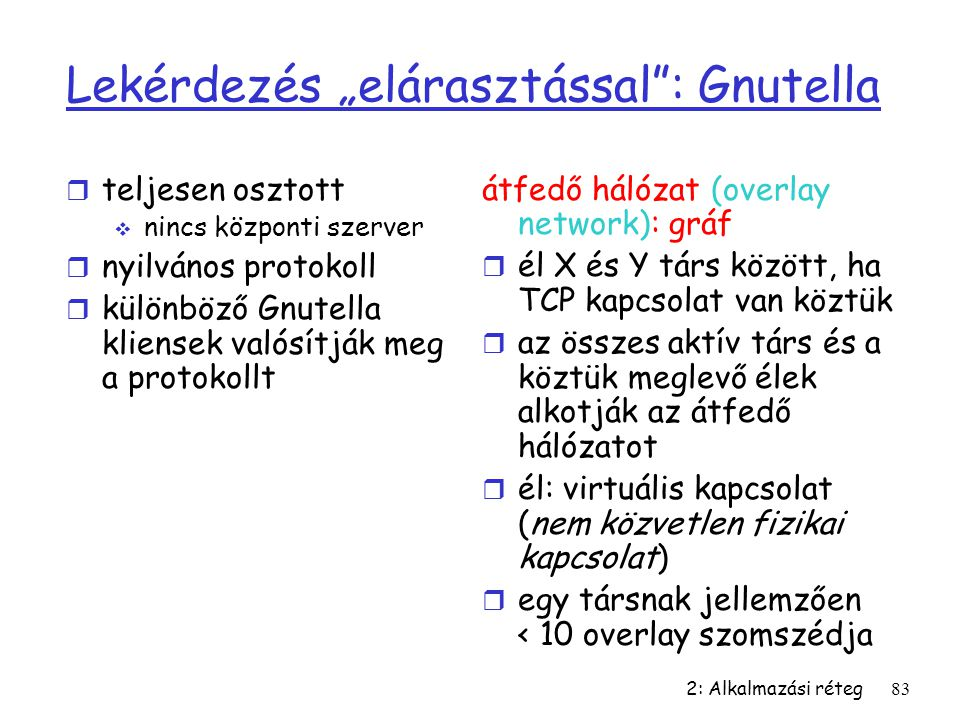 """Lekérdezés """"elárasztással : Gnutella"""