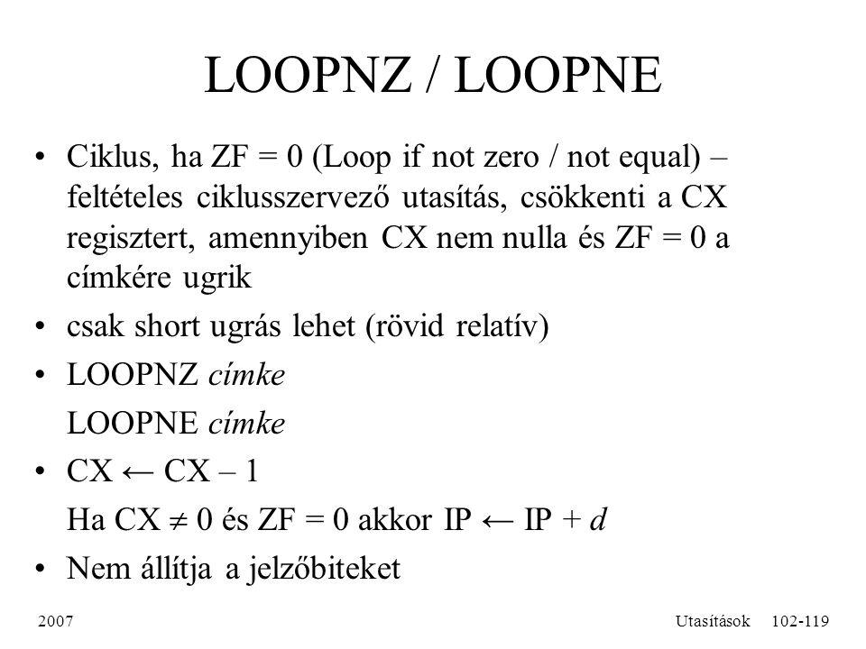 LOOPNZ / LOOPNE