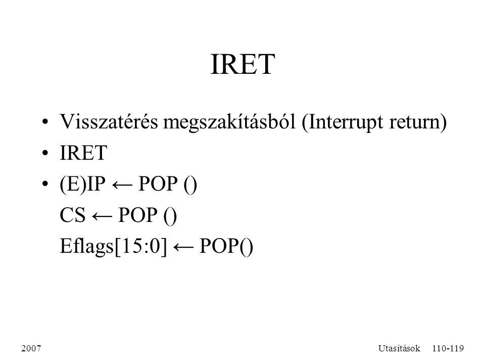 IRET Visszatérés megszakításból (Interrupt return) IRET (E)IP ← POP ()