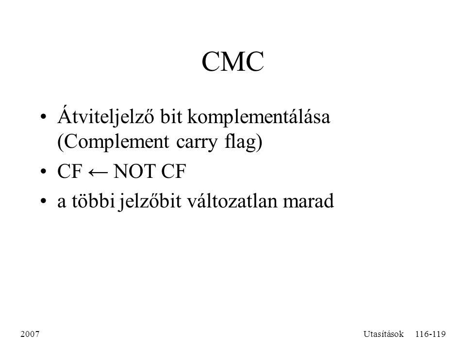 CMC Átviteljelző bit komplementálása (Complement carry flag)