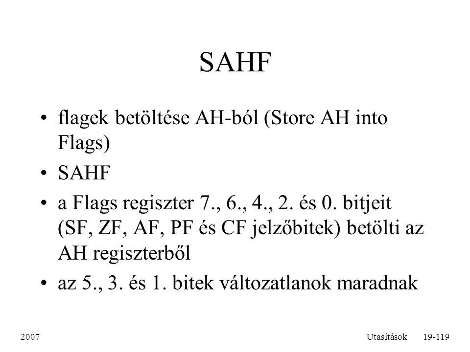 SAHF flagek betöltése AH-ból (Store AH into Flags) SAHF