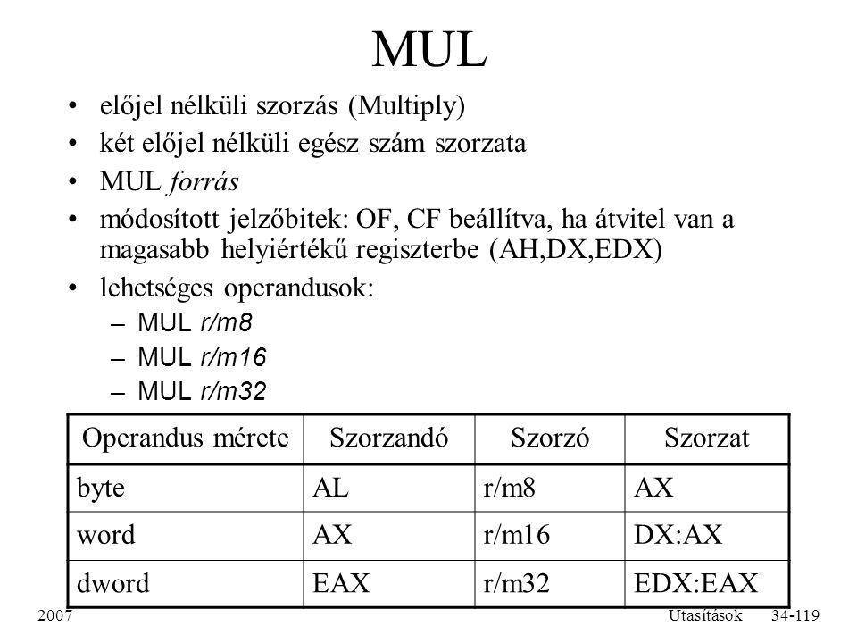MUL előjel nélküli szorzás (Multiply)