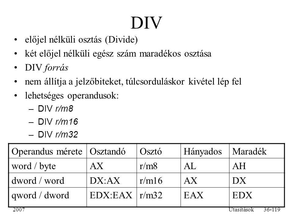 DIV előjel nélküli osztás (Divide)