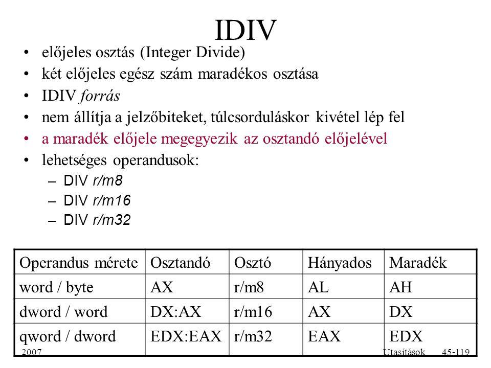 IDIV előjeles osztás (Integer Divide)
