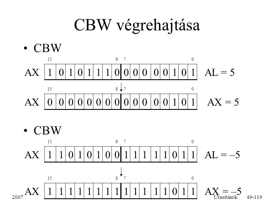 CBW végrehajtása CBW CBW AX 1 AL = 5 AX 1 AX = 5 AX 1 AL = –5 AX 1