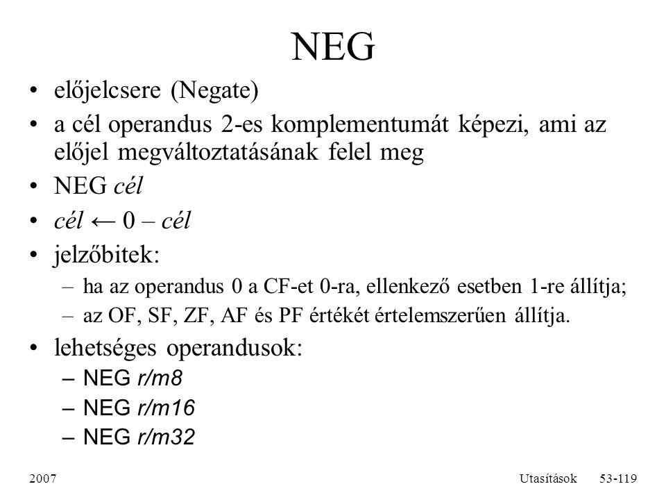 NEG előjelcsere (Negate)