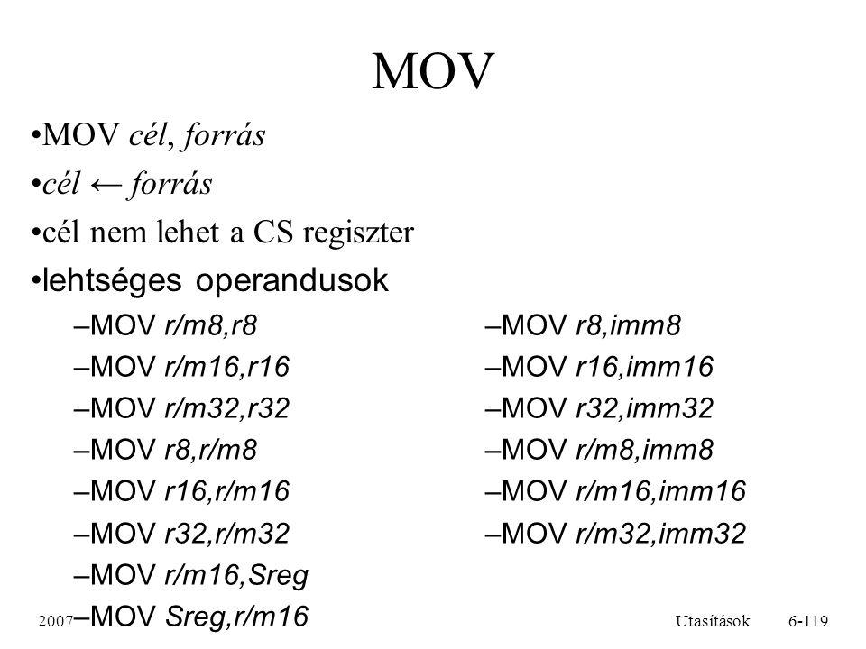 MOV MOV cél, forrás cél ← forrás cél nem lehet a CS regiszter