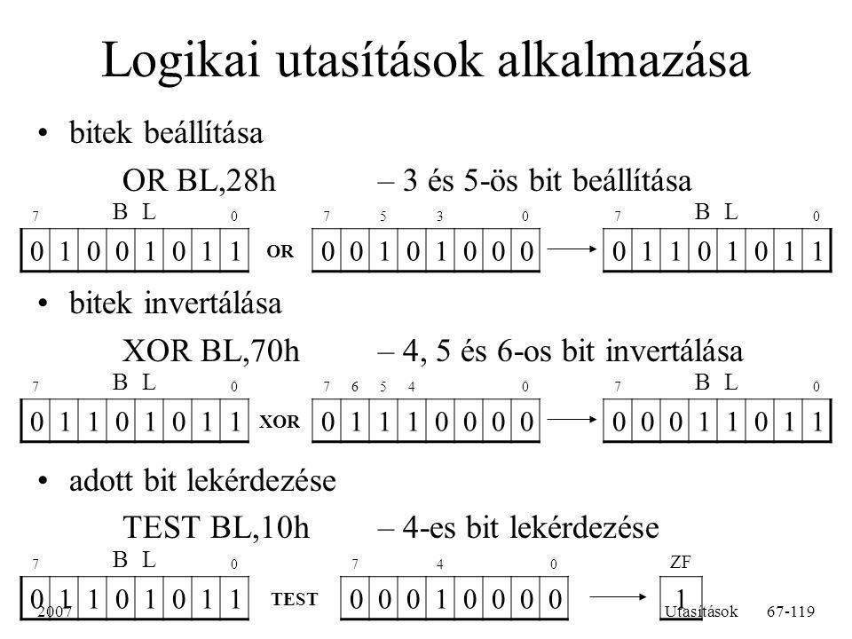 Logikai utasítások alkalmazása