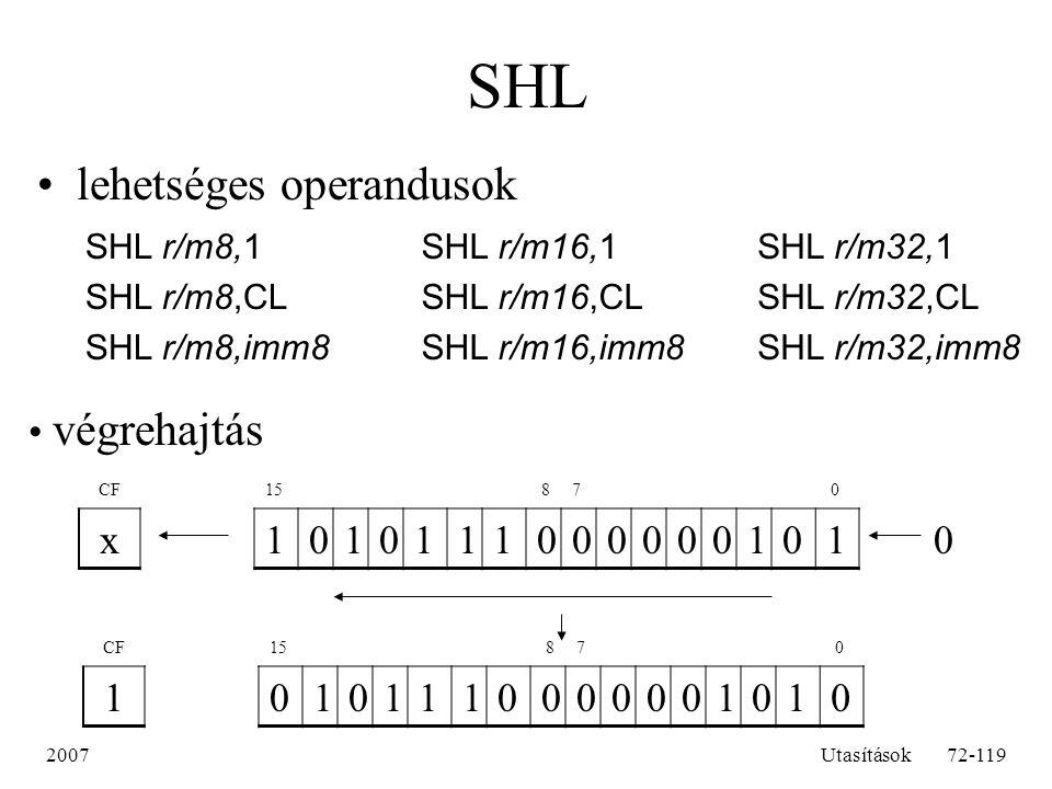 SHL lehetséges operandusok végrehajtás x 1 1 SHL r/m8,1 SHL r/m8,CL