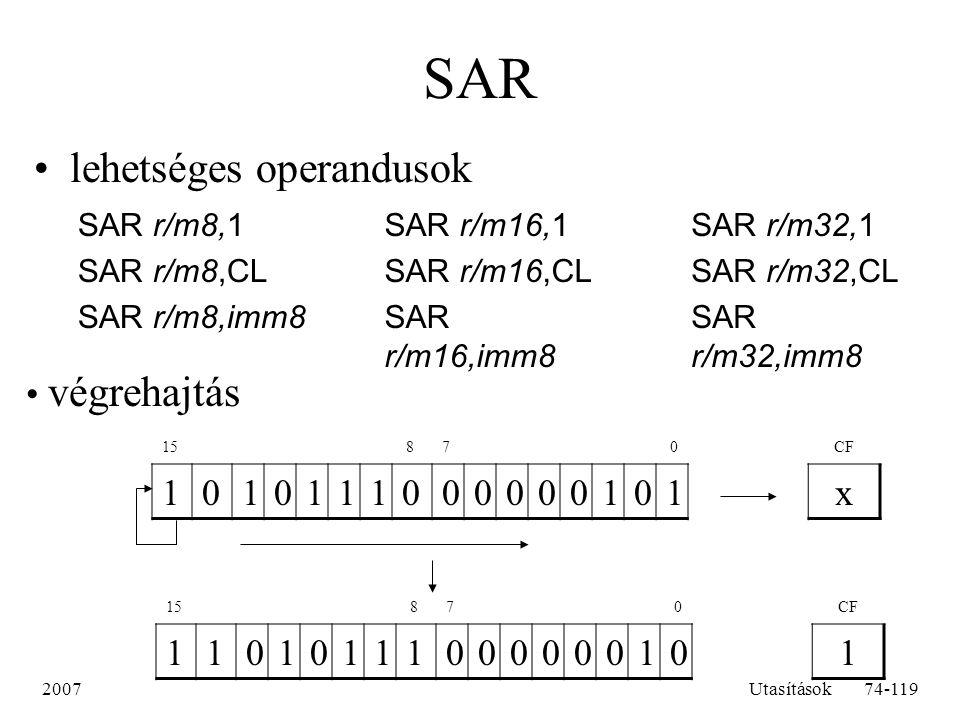 SAR lehetséges operandusok végrehajtás 1 x 1 SAR r/m8,1 SAR r/m8,CL