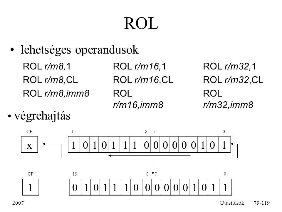 ROL lehetséges operandusok végrehajtás x 1 1 ROL r/m8,1 ROL r/m8,CL