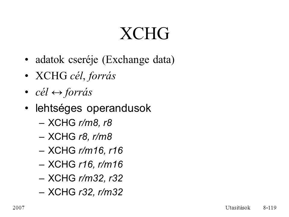 XCHG adatok cseréje (Exchange data) XCHG cél, forrás cél ↔ forrás