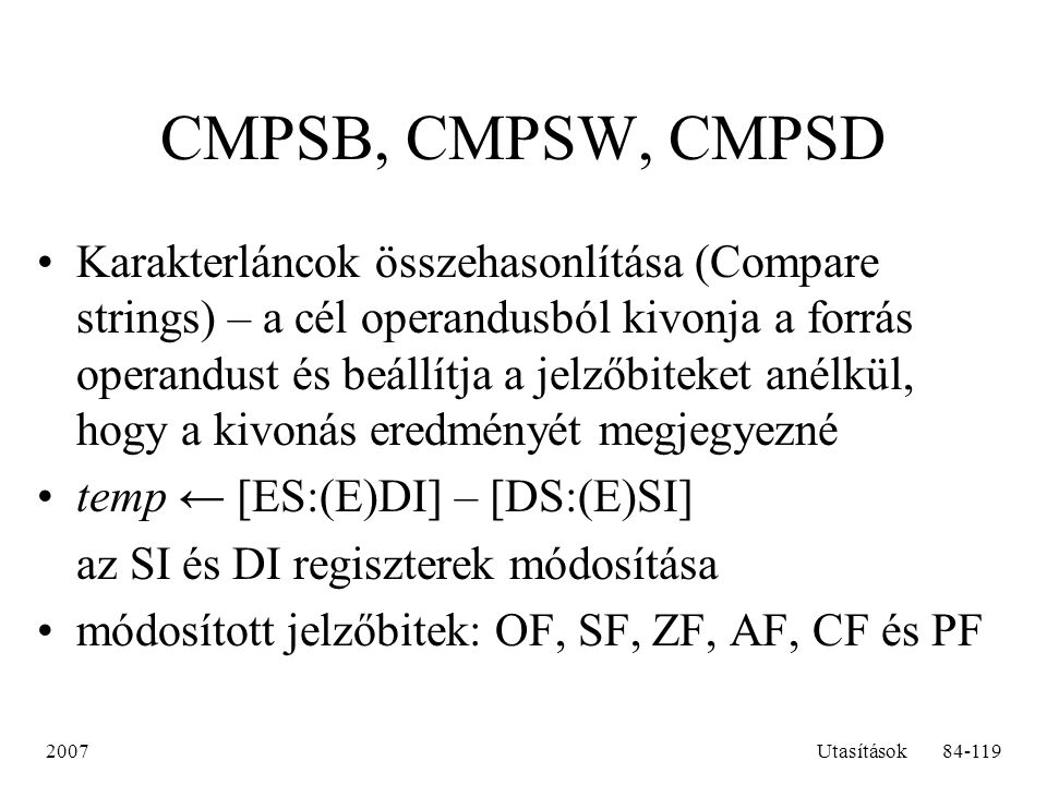 CMPSB, CMPSW, CMPSD