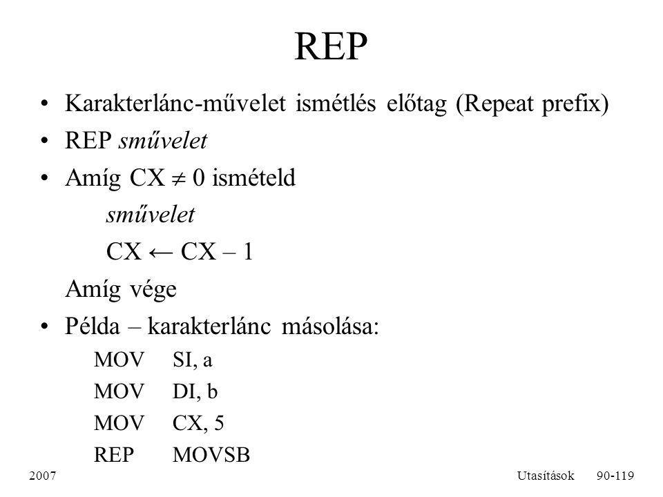 REP Karakterlánc-művelet ismétlés előtag (Repeat prefix) REP sművelet
