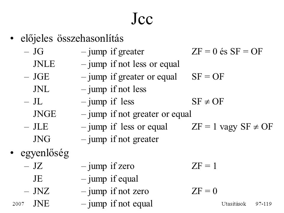 Jcc előjeles összehasonlítás egyenlőség