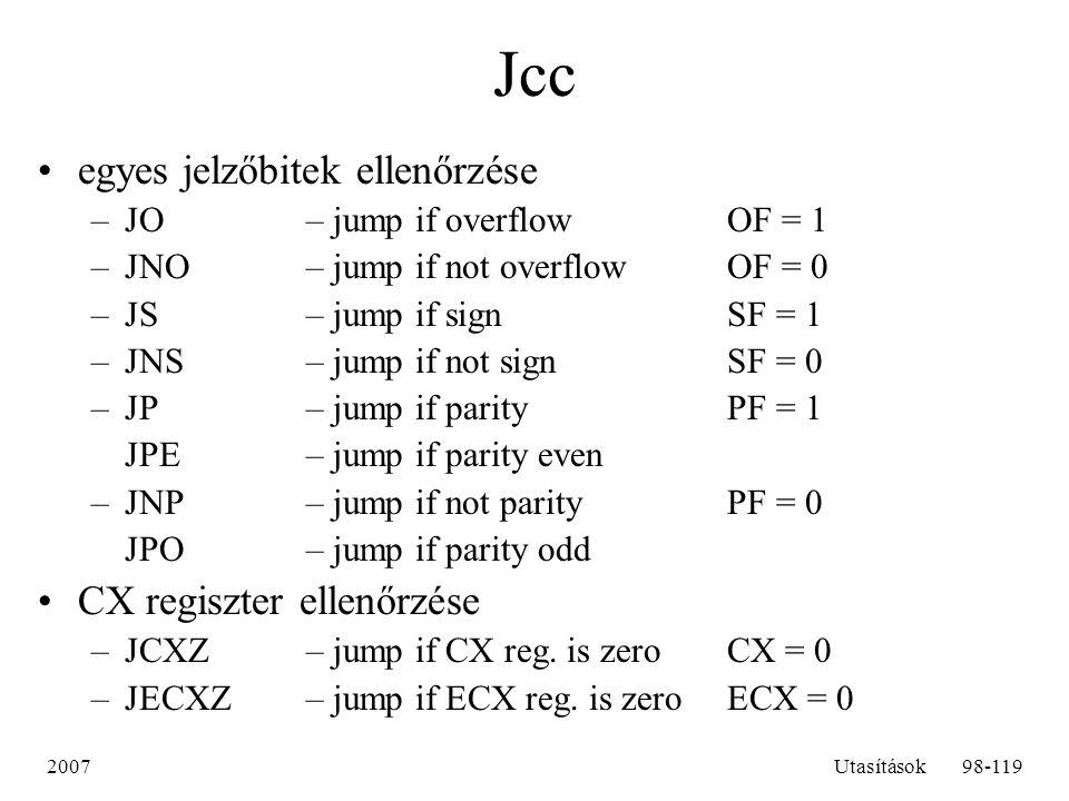Jcc egyes jelzőbitek ellenőrzése CX regiszter ellenőrzése