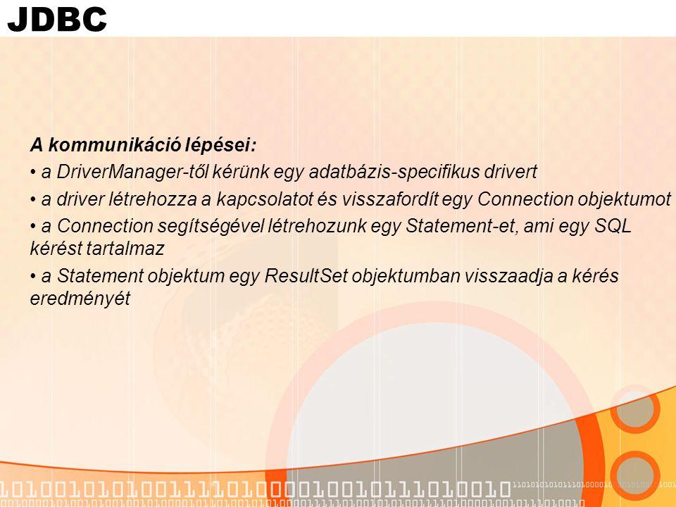 JDBC A kommunikáció lépései: