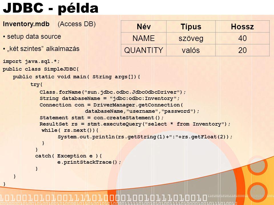 JDBC - példa Név Típus Hossz NAME szöveg 40 QUANTITY valós 20