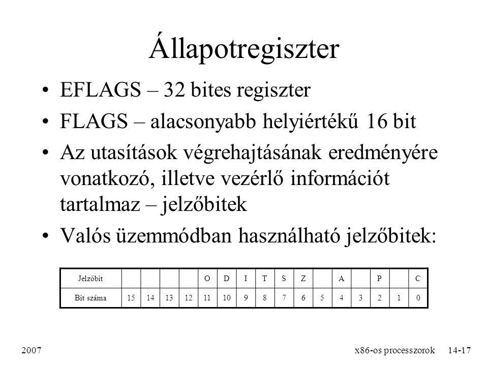 Állapotregiszter EFLAGS – 32 bites regiszter