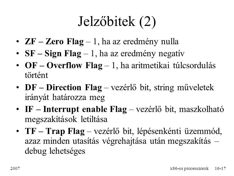 Jelzőbitek (2) ZF – Zero Flag – 1, ha az eredmény nulla