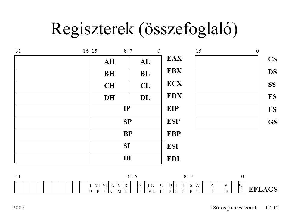 Regiszterek (összefoglaló)