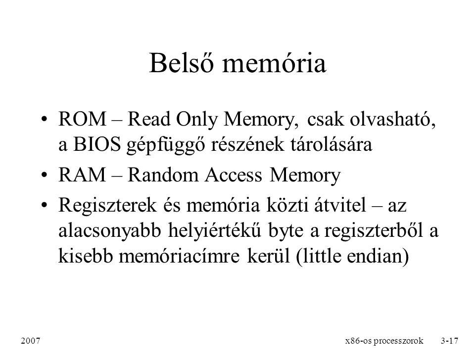 Belső memória ROM – Read Only Memory, csak olvasható, a BIOS gépfüggő részének tárolására. RAM – Random Access Memory.