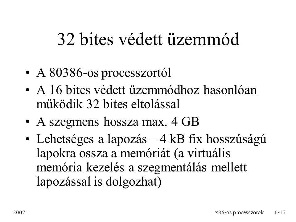 32 bites védett üzemmód A 80386-os processzortól