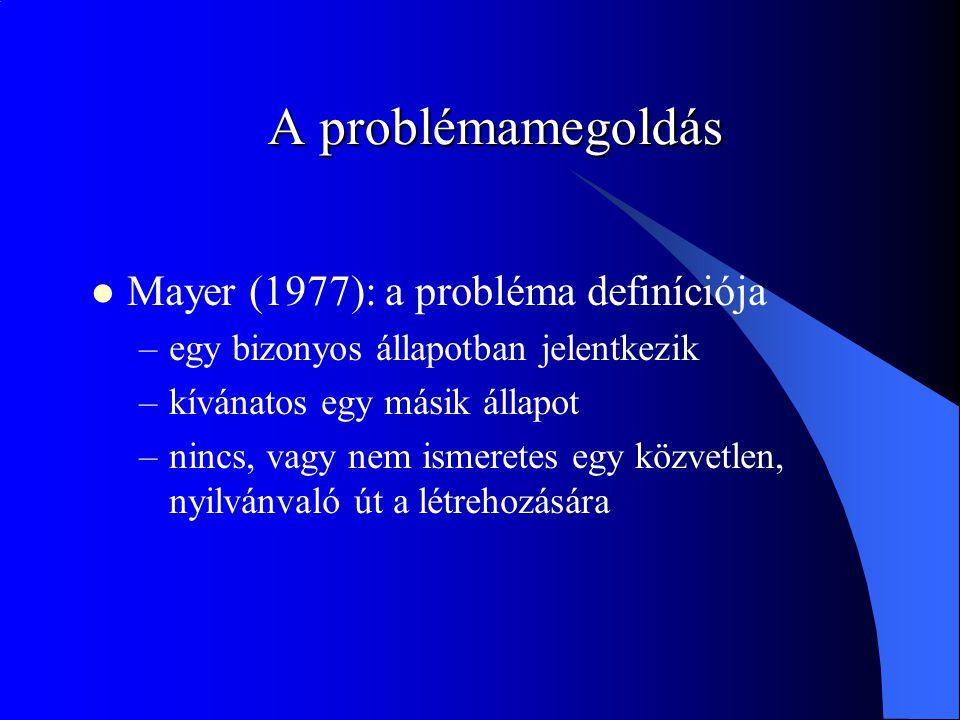 A problémamegoldás Mayer (1977): a probléma definíciója