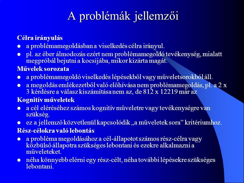 A problémák jellemzői Célra irányulás