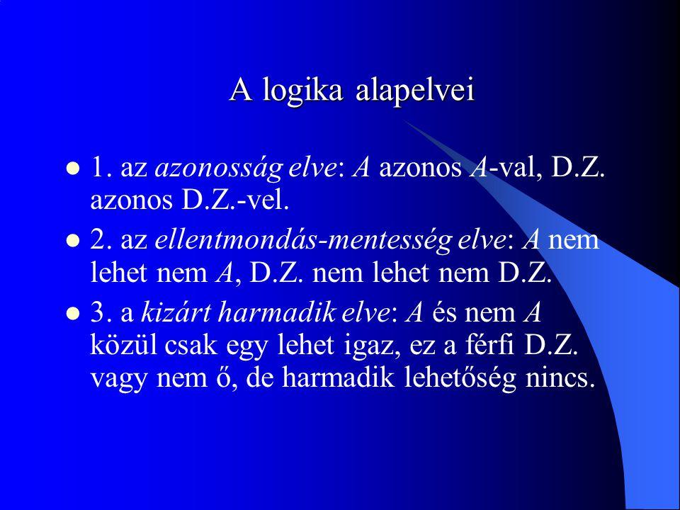 A logika alapelvei 1. az azonosság elve: A azonos A-val, D.Z. azonos D.Z.-vel.