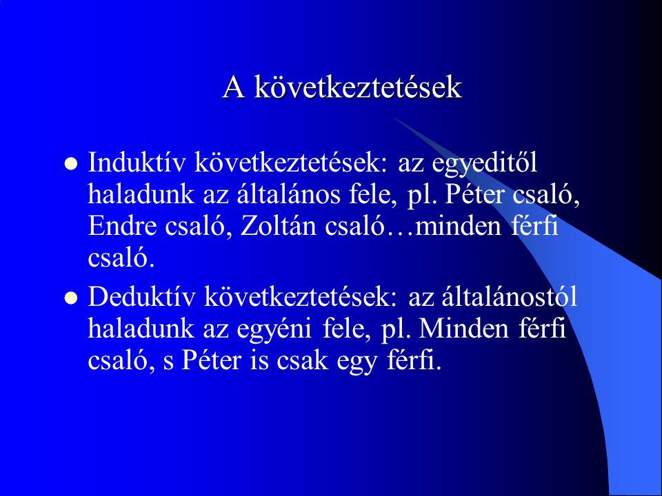 A következtetések Induktív következtetések: az egyeditől haladunk az általános fele, pl. Péter csaló, Endre csaló, Zoltán csaló…minden férfi csaló.