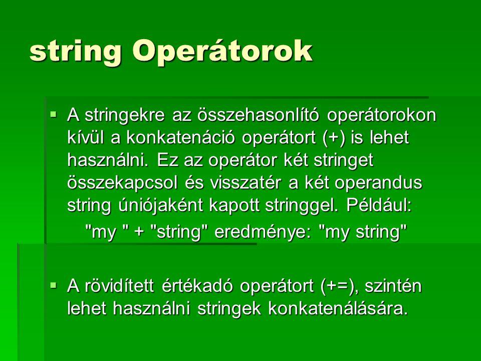 string Operátorok