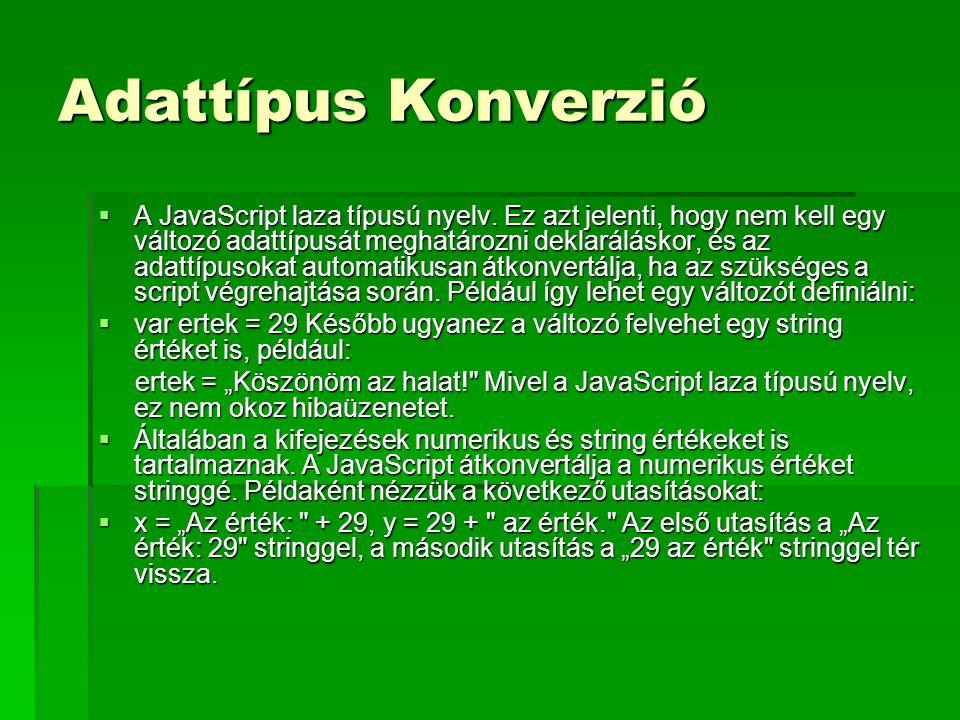 Adattípus Konverzió